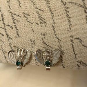 Vintage silver & green screw clip on earrings